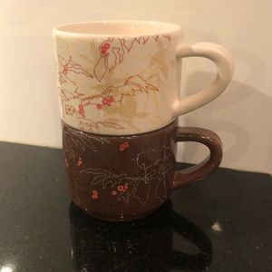 Starbucks circa 2009 set up 2 ceramic coffee cups
